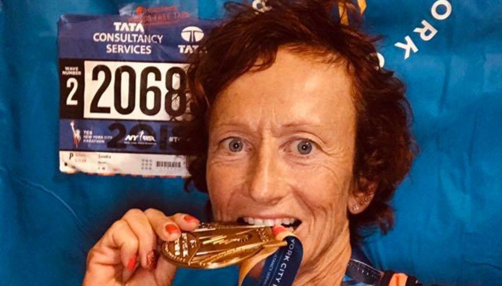 Sandra Ferraro al termine della NYC Marathon