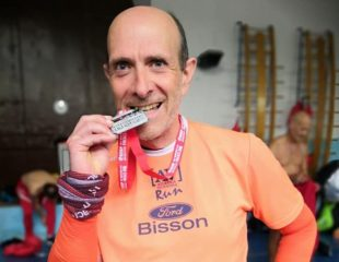 Giorgio Menegazzo all'arrivo dell'Half Marathon Vivicittà di Firenze