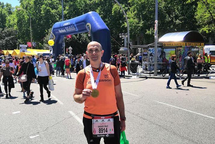 Giorgio al termine della Rock 'n Roll Marathon di Madrid